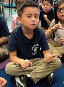 Kindergartener at D'Abate Elementary School practicing breath counting